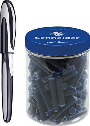 Schneider Ray Tintenroller (Nachfüllbar mit Standard Tintenpatronen, geeignet für Rechts- und Linkshänder) 1 Stück tiefblau/hellgrau + 100 Patronen blau standard löschbar