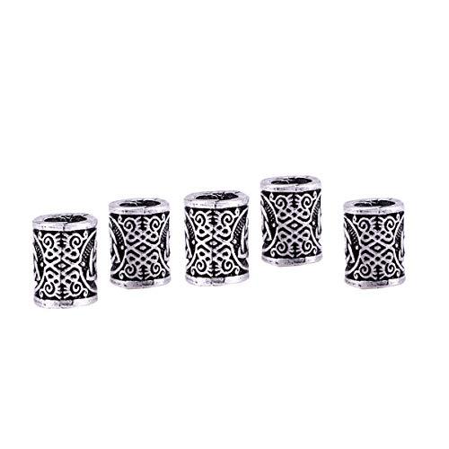 FRCOLOR 5 unidades de perlas de pelo con runas vikingas, perlas celtas trenzadas de plata antigua, anillos para pelo, trenzas, rastas, accesorios para el pelo para mujeres y hombres
