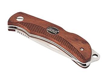 Eka Swede 8 Couteau de poche Lame en acier 12C27 Manche en bois Bubinga Etui de rangement en tissu 250711