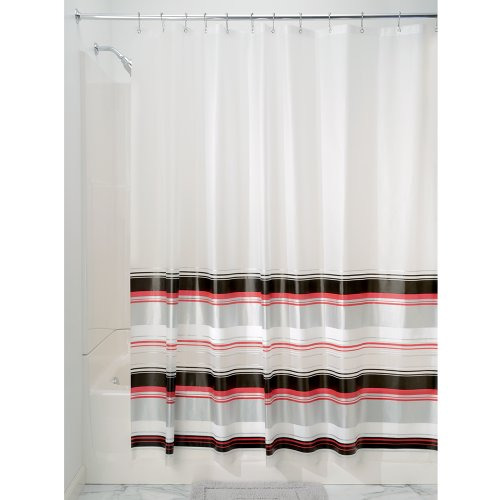 InterDesign 31599EU Maxwell Duschvorhang, 180 x 200 cm, schwarz / rot / silber