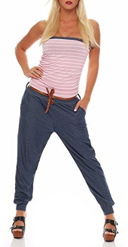 Malito Damen Einteiler im Marine Design   Overall mit Gürtel   Jumpsuit im Jeans Look   Romper - Playsuit - Bandeau 9650 (rosa)