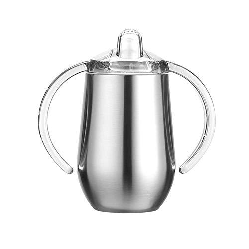 Vaso de aprendizaje de acero inoxidable para niños, a prueba de fugas, con asas, termo para aprender a beber de 300 ml, sin BPA