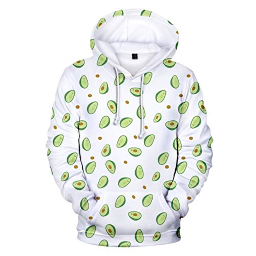 Hoodies Pullover for Couples Avocado Print Casual Sport Sweatshirt Round Neck Long Shirts Top Blouse Tracksuit WEI MOLO