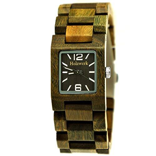 Handgefertigte Holzwerk Germany® Designer Damen-Uhr Öko Natur Holz-Uhr Braun Grün Schwarz Rot Armband-Uhr Analog Klassisch Quarz-Uhr