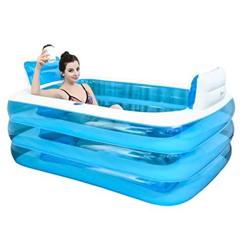 GX Paare, die doppelte Plastikbadewanne, rechteckige Haushalts-Erwachsen-Isolierungs-aufblasbare Bad-Töpfe falten (Farbe : Blau, größe : 1.5 m)