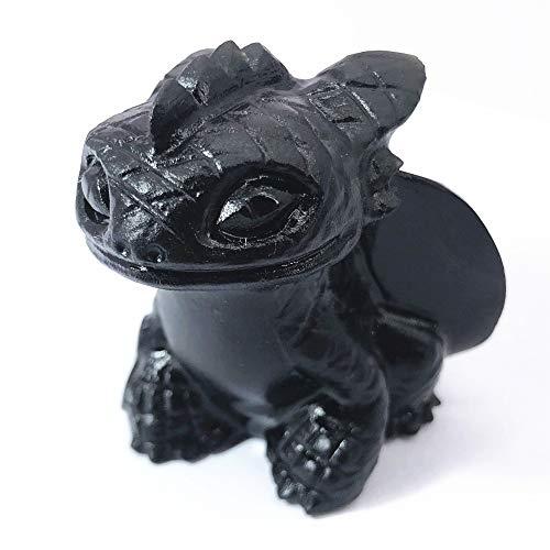 Anlingem Healing Crystal Stone Human Reiki Skull Figurine Statue Sculptures Fly Dragon Skull Crystal Halloween (Obsidian) AL-OBTS