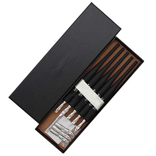SIPLIV Plastic Professional Manga Gothic Pen Dip Pen Set with 5 Nibs Manga Calligraphy Drawing Pen Kit - 5 Pcs, Black