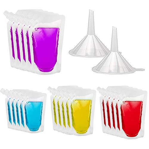 afdg Bolsa de Plástico Transparente para Bebidas, 20 Piezas Bolsa de Plástico para Jugo, Bolsa para Beber con Embudo de 2 Piezas para Vino, Camping, Viajes, Fiestas, (250 ml, 420 ml, 500 ml, 1000 ml)