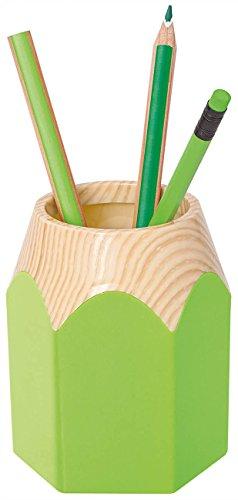 Wedo 245255011Pot à crayons Crayon en forme de crayon en plastique résistant Env. 8, 5x 7, 5x 10, 5cm, vert pomme