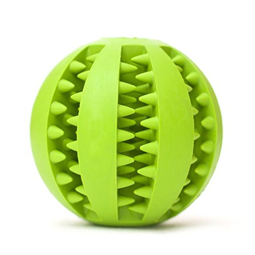 Pet Dog Toy Ball. Nature Rubber Bouncy Toy Ball for Dogs. Dog Food Treat Feeder Tooth Cleaning Ball for Pet Training/ Playing/ Chewing - Bite Resistant Pet Exercise Game Ball (Green)