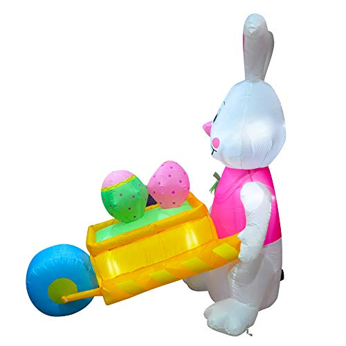 SEASONBLOW 6 FT LED Light Easter Inflatable Rabbit Pushing Wheelbarrow with Eggs Decorations for Yard Lawn Garden Home Outdoor Indoor Holiday Decor