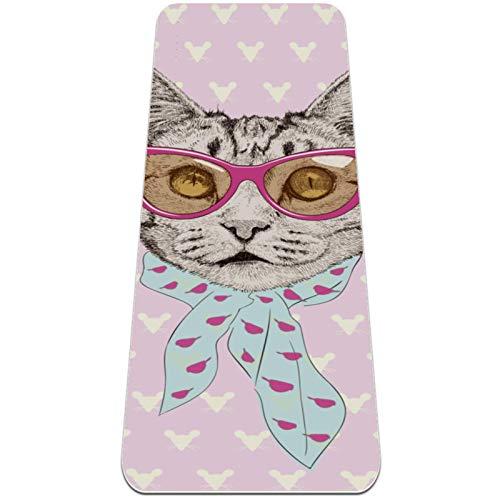Esterilla Yoga Mat Antideslizante Profesional - gato con gafas rosas - Colchoneta Gruesa para Deportes - Gimnasia Pilates Fitness - Ecológica