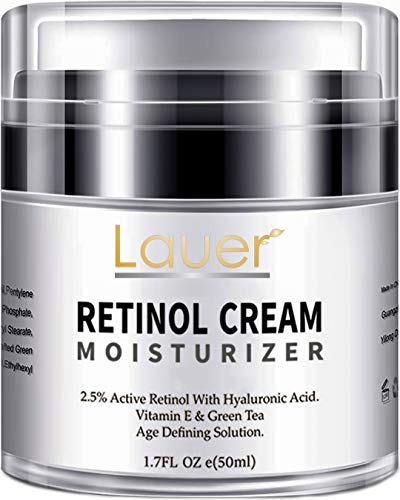 Lauer Retinol Moisturizer for Face and Eye area | Anti Aging Cream with Hyaluronic Acid, 2.5% Active Retinol and Vitamin E | Reduces Appearance of Wrinkles and Fine lines | Best Day and Night Face Cre