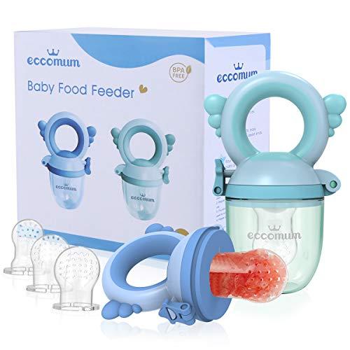 Eccomum Alimentador Antiahogo Bebe(2 piezas), Chupete Fruta Bebe y Mordedores, con pacifiers de 3 tamaños diferentes, sin BPA