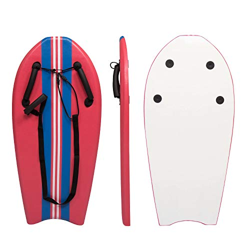 """Bodyboard with Grips 36"""" Hand Hold Body Board Lightweight Surfboard Slick Bottom for Beginners Kids and Adults Sea Beach River, Red"""