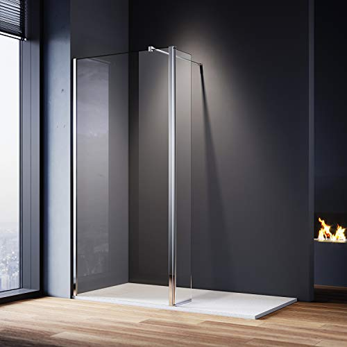 ELEGANT 700mm Walk in Shower Screen Glass Panel with 300mm Return Panel and 1400x800 mm Shower Tray, 1900mm Height,8mm Easy Clean Glass Wet Room Screen Panel Enclosure