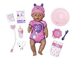 43cm interactive BABY born doll. Featuring 9 life-like functions. Softer feeling doll with flexible limbs. Easy-to-press tummy button, making potty training easier. She can drink real water, cry tears and even eat food! Plus she can even go in the ba...