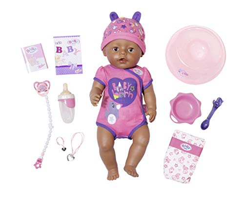 Zapf Baby Born 824382 Soft Touch-Girl - Muñeca interactiva con Ojos Marrones