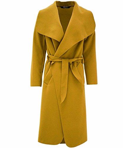 Hina Fashion Frauen-Damen Italienisch Wasserfall Belted Langarm-Mantel-Jacken-Top (One Size Fits 8-16, Senf)
