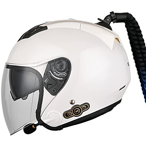 STRTG Bluetooth Integrado Medio Abierto, Casco De Moto con Visera, Casco Moto Jet Cubierto Casco De Seguridad, Casco De Motocicleta para Hombres Y Mujeres ECE Homologado C,XL