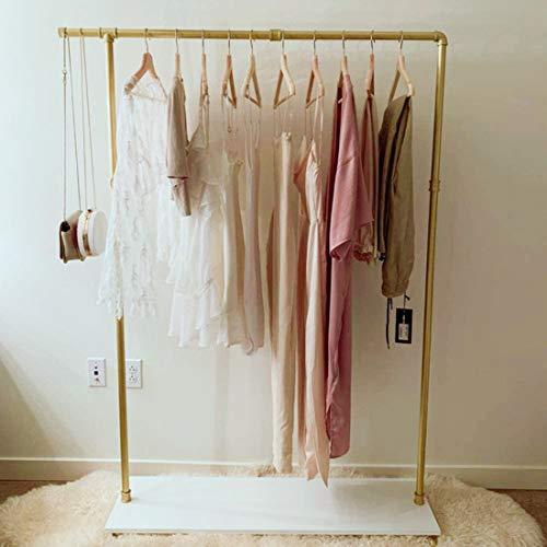 Estante de ropa de oro industrial para pipa con estante de madera estante de exhibición estante de almacenamiento para tienda o hogar