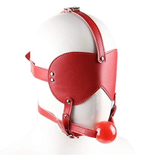 PU Leather Hood Blindfold Headgear Solid Mouth Ball Role Play Hallowmas Costume Masquerade Party Accessories (Red)