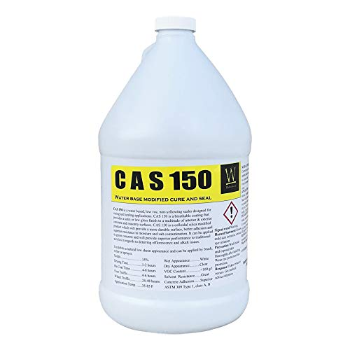 Walttools CAS 150 Cure and Seal | High-Grade, Water-Based Concrete Curing Membrane, Sealer, Dust Proofer (1 Gallon)