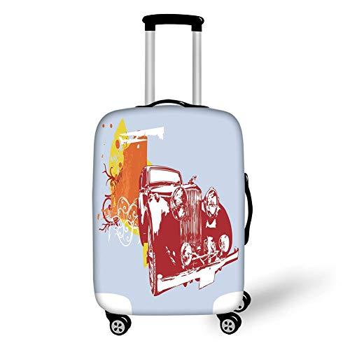 Reizen Bagage Cover Koffer Beschermer, Wijn, Samenstelling met Kleine Vat Twee Soorten Druiven Drankjes Drank Product Decoratief, Rood Geel Licht Groen, voor Reizen