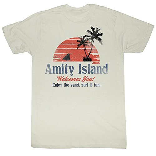 Jaws - Amity Island Mens T-Shirt In Dirty White, Large