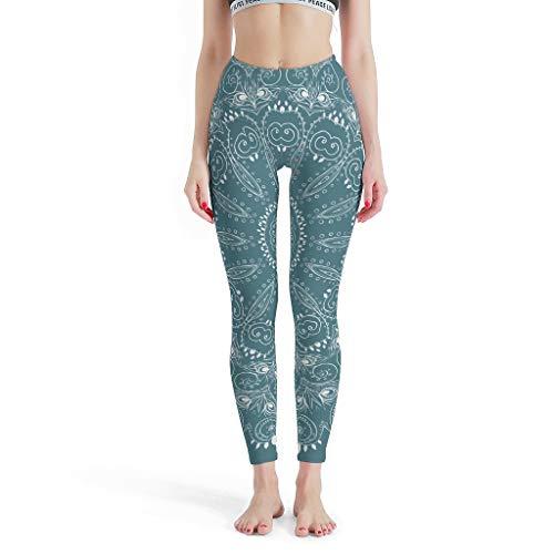 XHJQ88 – Pilateshose für Damen, Design Leggings, gemustert, Capri-Hose für Frauen M weiß