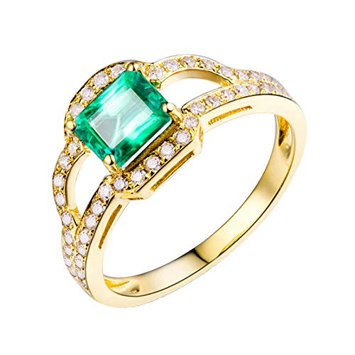 KnSam Mujer Unisex AU750 oro amarillo 18 quilates (750) esmeralda verde Emerald