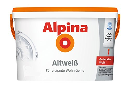 Alpina Altweiß Innenfarbe 10 Liter gedecktes Weiß edelmatt elegante Wohnräume
