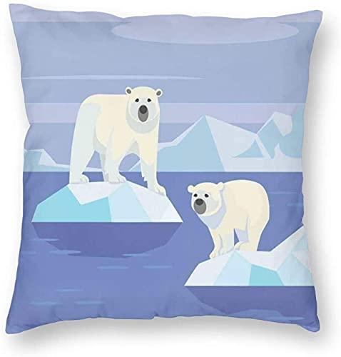 Tirar Fundas de Almohada, en el Círculo polar Ártico Animales Flotante de HIELO En las Rocas Eco Hábitat Zoológico Nórdicos Polo, Plaza de Cojín de Sofá Casos Fundas de almohada 18 * 18 Pulgadas