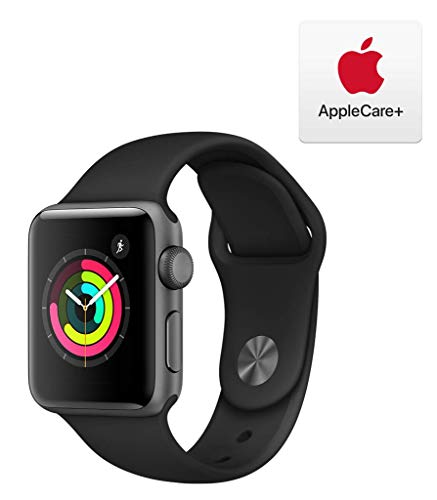 Apple Watch Series 3 (GPS, 38mm) - Space Gray Aluminum Case with Black Sport Band with AppleCare+ Bundle