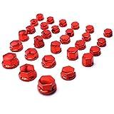 Mrwzq 30pcs / Set Tornillo de Cubierta de la Motocicleta Cap Tuerca del Perno Decoración Cromado de plástico en Forma for Kawasaki ZX10R ZX9R Z1000 ZX12R Z900 Z800 Decoración del Coche (Color : Red)
