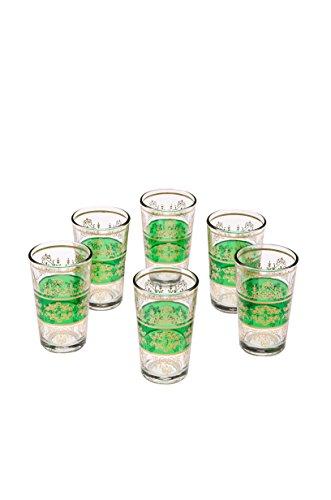 Orientalische verzierte Teegläser Set 6 Gläser Marrakesch Grün Gold   Marokkanische Tee Gläser Set 6 teilig Deko orientalisch   6 x Orientalisches Marokkanisches Teeglas verziert   Farben Auswahl