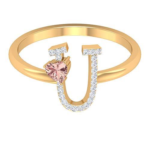 Anillo en U con inicial de diamante de 1/4 quilates con forma de corazón, morganita creada, 14K Oro amarillo, Size:EU 55