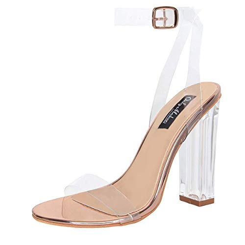 onlymaker Women's Lucite Clear Ankle Strap Adjustable Buckle Block Chunky Perspex High Heel Transparent Dress Sandals Rose Gold 13 M US