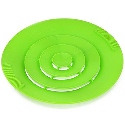 com-four® Universal Silikon-Überkochschutz, Kochwasser-Spritzschutz, Überlaufschutz (001 Stück - grün V1)