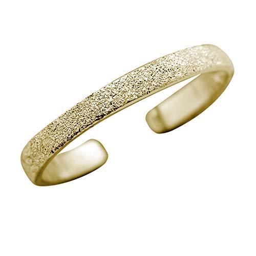 FIVE-D Ring Zehenring Grösse einstellbar sandgestrahlt aus 925 Sterling Silber im Schmucketui (Gold - 2,5 mm)