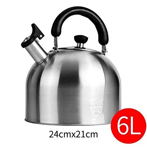 Théière Bouilloire en Acier Inoxydable, en sifflant ketle Camping, Cuisinière au gaz des ménages, Grande capacité Universelle, Whistling Kettle (Color : Silver, Size : 6L)