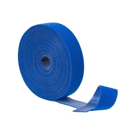 BRAVEHISNE Klett Kabelbinder wiederverschließbar Klettbänder, klettverschluss Kabelbinder Rolle für Kabel Frei Zuschneidbar zum Nähen Basteln Kabelmanagement (5mx20mm,Blau)