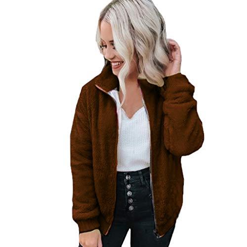 Wave166 Abrigo Mujer Invierno, Women Casual Solid Pocket Faux Fur Outwear Cardigan Loose Sweater Zipper Coat Nuevas Mujeres Chaqueta OtoñO Manga Larga Gruesa Abrigo
