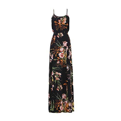HECHEN Damen-Weihnachtsrock - Seaside Beach Dress - Slim Fit-Kleid mit offenem Rücken,Black,L