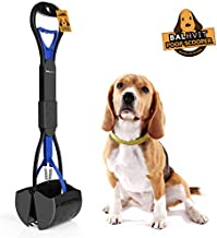 Balhvit Long Handle Portable Pet Pooper Scooper for Dogs, with Non-Breakable High Strength Durable Spring & Premium Materials, Foldable Dog Poop Waste Pick Up Rake, Jaw Claw Bin for Grass and Gravel