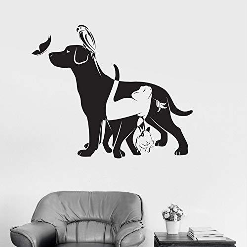 Relovsk hond kat vogel konijn dier dierenarts Vinyl muur Decal Home Decor DIY kunst muurbehang verwijderbare muur Stickers 57Cmx62Cm