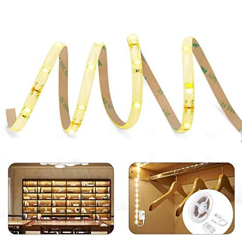 LUXJET Under Cabinet Light Strip Rechargeable, Motion Sensor, Warm White, 1.5M LED Strip Light for Kitchen Cabinets Bedroom TV