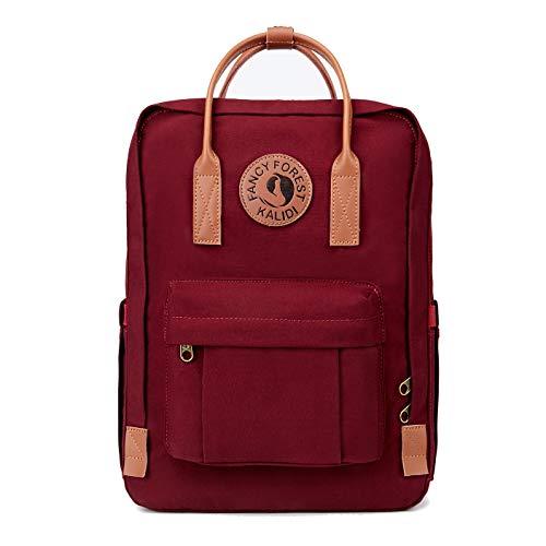 KALIDI Rucksack/Daypack Rucksack Mädchen Jungen & Kinder Damen Herren Schulrucksack mit laptopfach für 15 Zoll Notebook (Burgundy mit Leder)