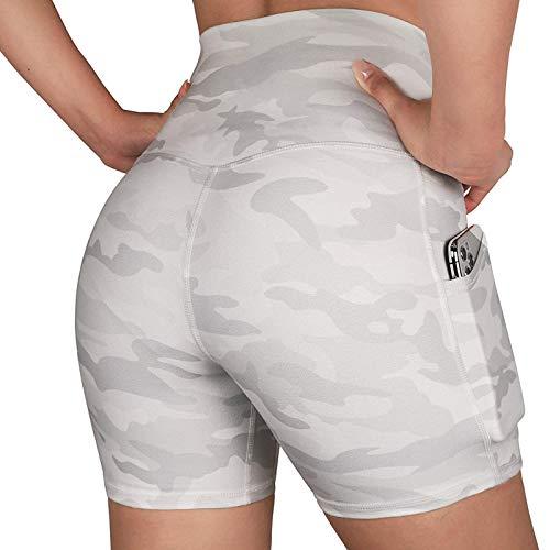 Marijee - Pantalones cortos para mujer, pantalones cortos para yoga, fitness, cintura alta, elásticos y cómodos blanco XL