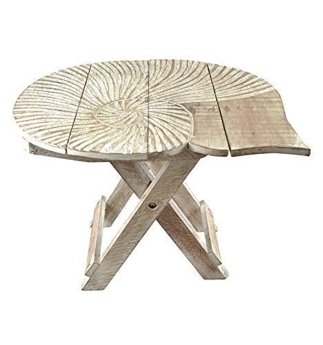 Sgabello/tavolino pieghevole a forma di conchiglia in legno intagliato, 30 cm, colore naturale invecchiato, bianco